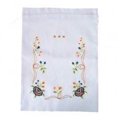 オーガンジー / コットン 巾着 ベトナム 刺繍 巾着 大(花 C ホワイト)
