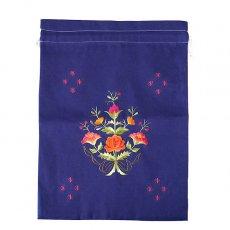 オーガンジー / コットン 巾着 ベトナム 刺繍 巾着 大(花 D ブルー)