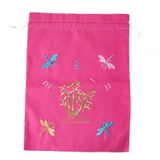 オーガンジー / コットン 巾着 ベトナム 刺繍 巾着 大(トンボ ピンク)