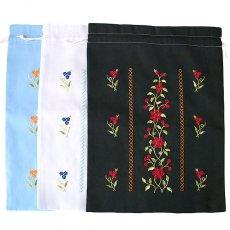 オーガンジー / コットン 巾着 ベトナム 刺繍 巾着 大(花  3色)