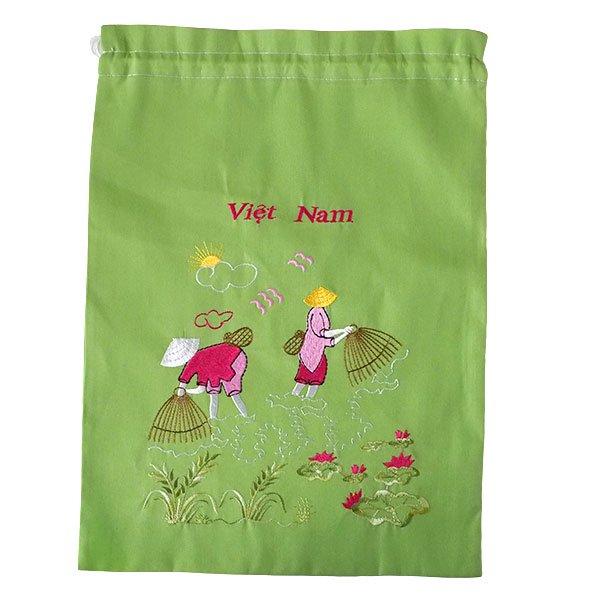 ベトナム 刺繍巾着