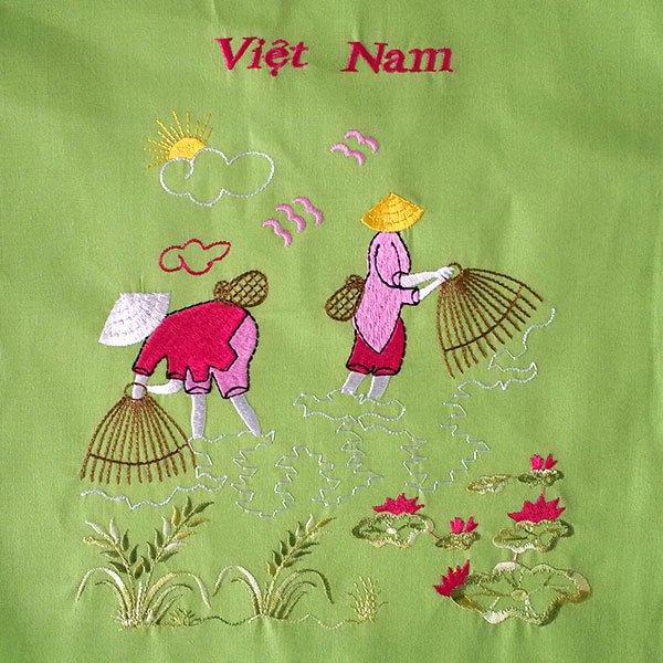 ベトナム 刺繍 巾着 大(網と人  グリーン)【画像2】