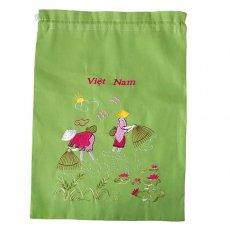 オーガンジー / コットン 巾着 ベトナム 刺繍 巾着 大(網と人  グリーン)