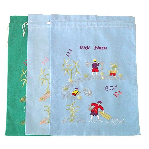 ベトナム 刺繍 巾着 大(天秤棒と海  2色)