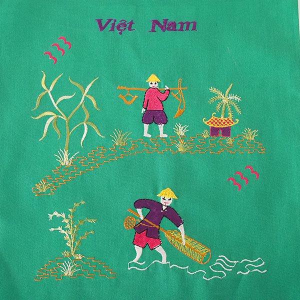 ベトナム 刺繍 巾着(天秤棒と海  2色 大サイズ 37×28)【画像2】
