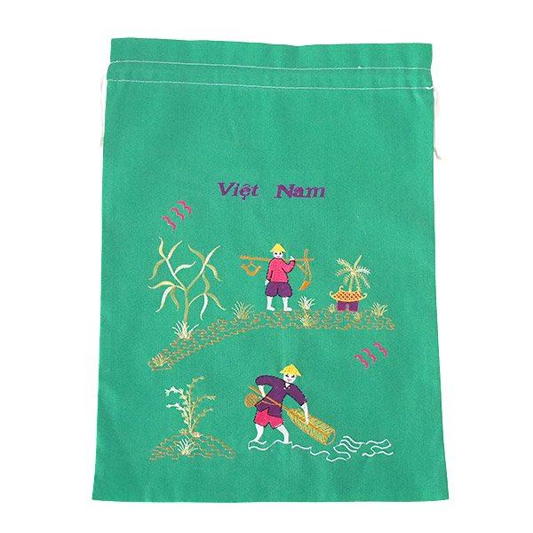 ベトナム 刺繍 巾着(天秤棒と海  2色 大サイズ 37×28)【画像3】