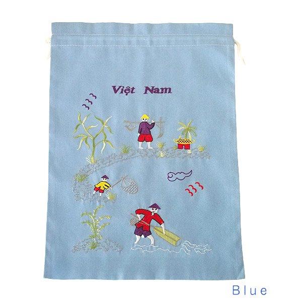 ベトナム 刺繍 巾着(天秤棒と海  2色 大サイズ 37×28)【画像4】