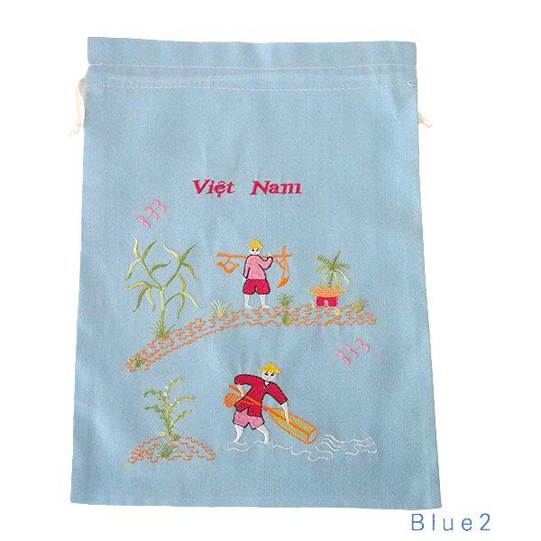 ベトナム 刺繍 巾着(天秤棒と海  2色 大サイズ 37×28)【画像5】