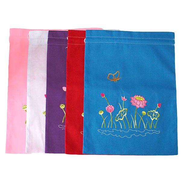 ベトナム 刺繍 巾着(ロータス 5色 大サイズ 37×28)