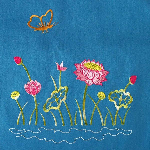 ベトナム 刺繍 巾着(ロータス 5色 大サイズ 37×28)【画像2】