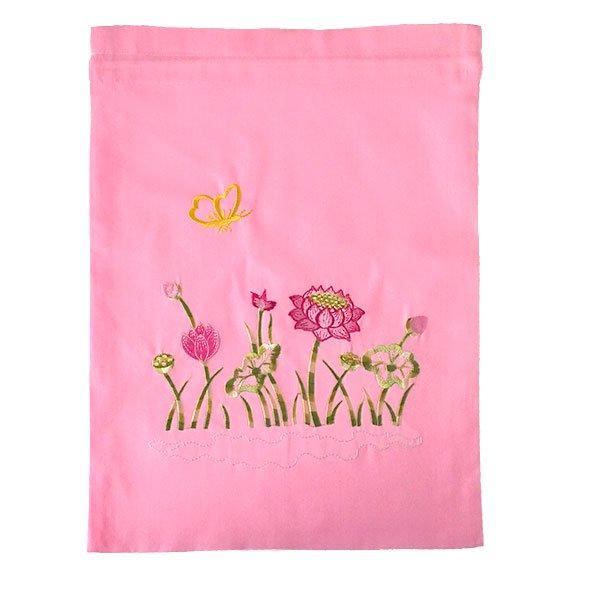 ベトナム 刺繍 巾着(ロータス 5色 大サイズ 37×28)【画像3】