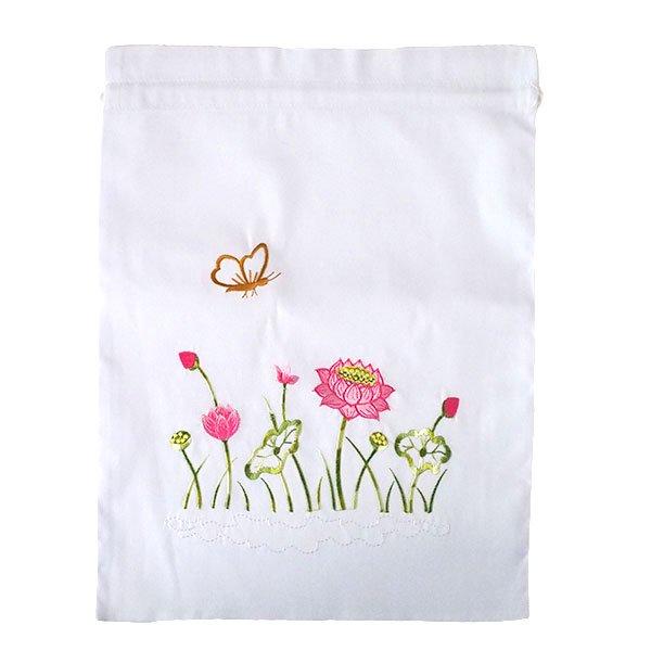 ベトナム 刺繍 巾着(ロータス 5色 大サイズ 37×28)【画像4】