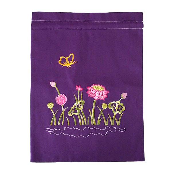 ベトナム 刺繍 巾着(ロータス 5色 大サイズ 37×28)【画像5】