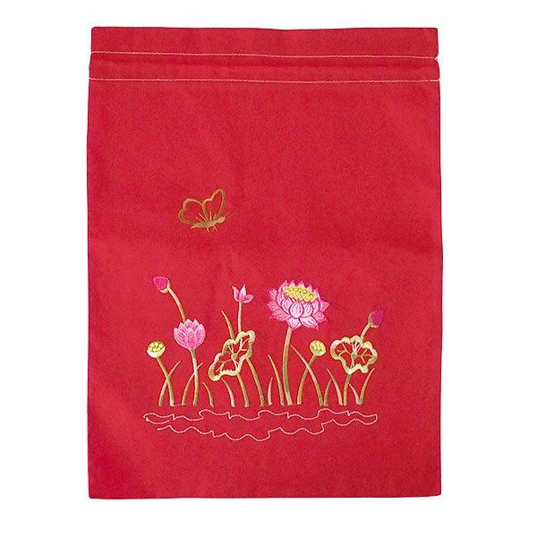ベトナム 刺繍 巾着(ロータス 5色 大サイズ 37×28)【画像6】