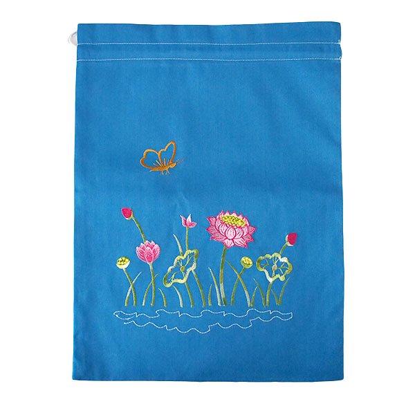 ベトナム 刺繍 巾着(ロータス 5色 大サイズ 37×28)【画像7】