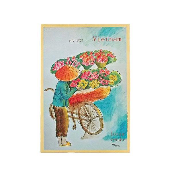ベトナム ポストカード(蓮の売り子さん)