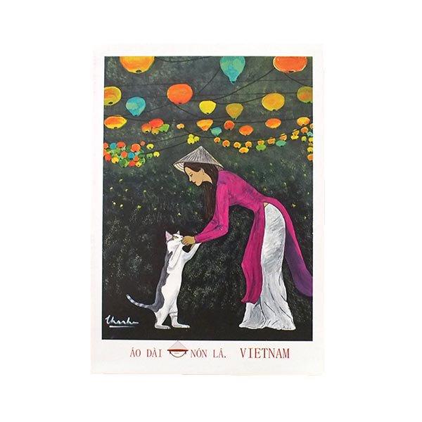 ベトナム ポストカード(アオザイ女性とネコとランタン)
