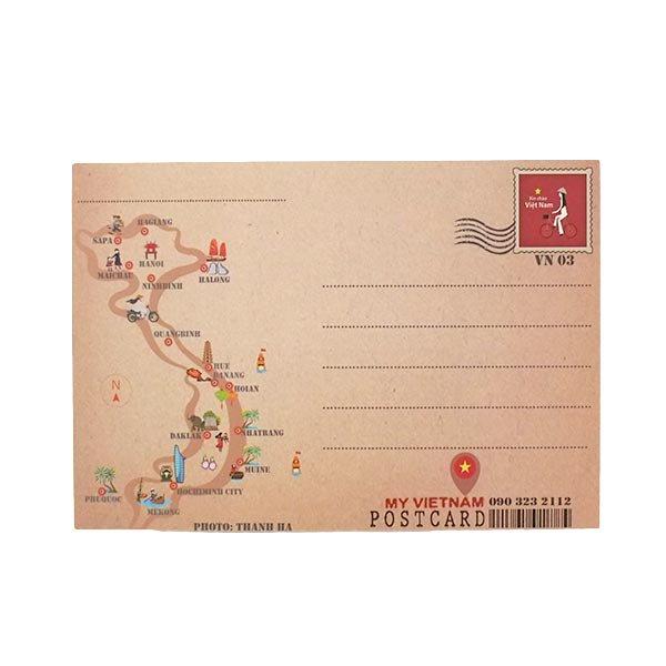 ベトナム ポストカード(アオザイ女性とネコとランタン)【画像2】