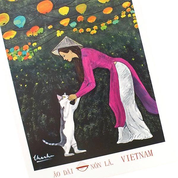ベトナム ポストカード(アオザイ女性とネコとランタン)【画像3】