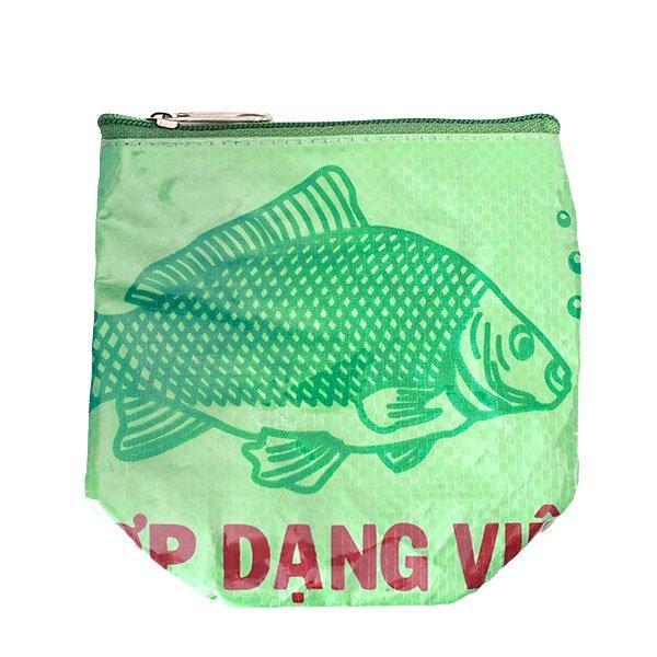ベトナム 飼料袋 リメイク ポーチ(NEW サイズ 魚 グリーン)