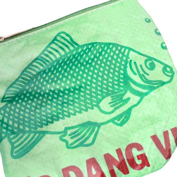 ベトナム 飼料袋 リメイク ポーチ(NEW サイズ 魚 グリーン)【画像3】