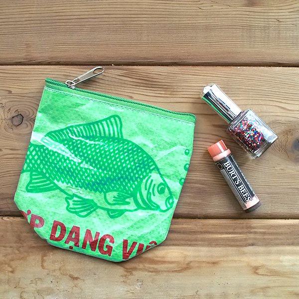 ベトナム 飼料袋 リメイク ポーチ(NEW サイズ 魚 グリーン)【画像5】