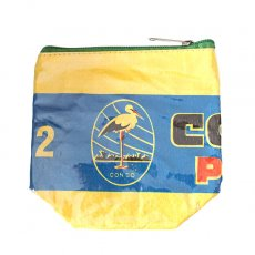 トリ (鳥) 雑貨 ベトナム 飼料袋 リメイク ポーチ(NEW サイズ コウノトリ イエロー)