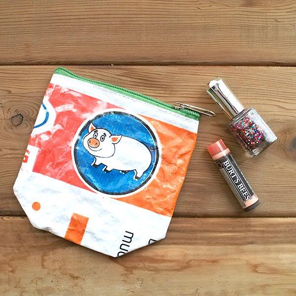 ベトナム 飼料袋 リメイク ポーチ(NEW サイズ ブタ)【画像5】