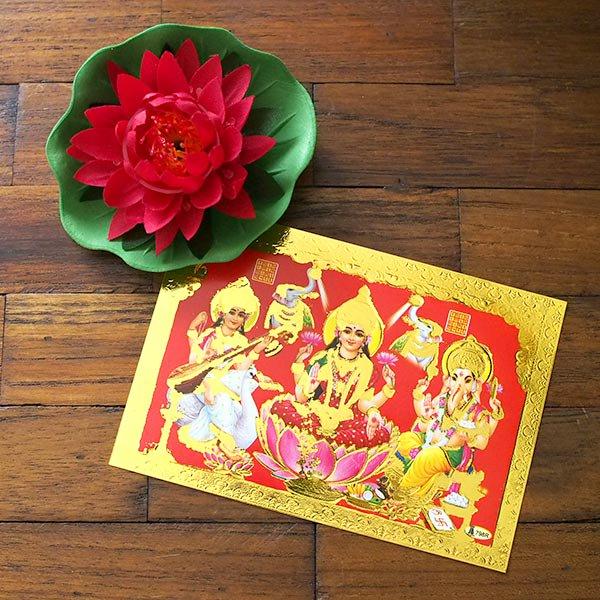 インド 神様 ポストカード(サラスヴァティ・ラクシュミー・ガネーシャ)【画像5】