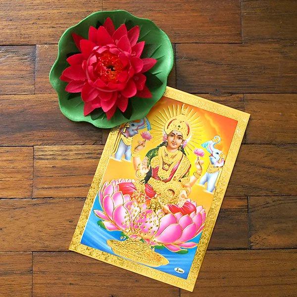 インド 神様 ポストカード(ラクシュミー オレンジ)【画像4】