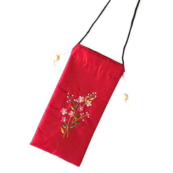 ベトナム 花刺繍 メガネケース B(紐付き 斜めがけOK)【画像6】
