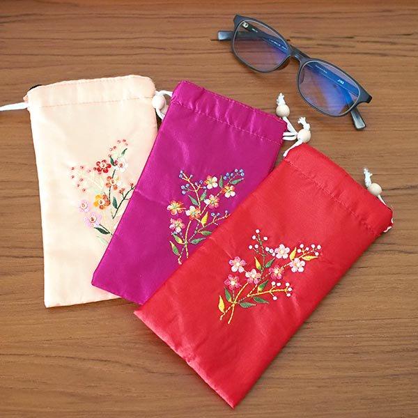 ベトナム 花刺繍 メガネケース B(紐付き 斜めがけOK)【画像7】