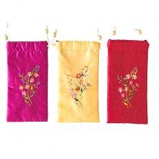 ベトナム 花刺繍 メガネケース B(紐付き 斜めがけOK)