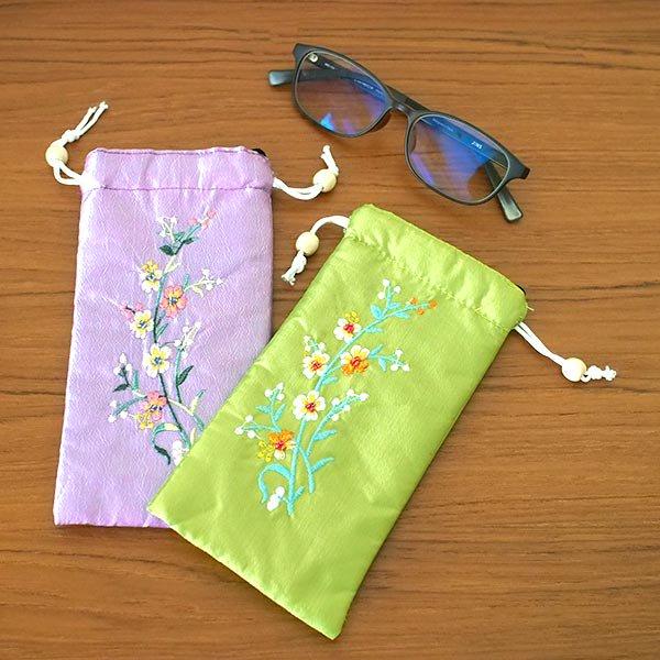 ベトナム 花刺繍 メガネケース C(紐付き 斜めがけOK)【画像6】