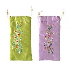 ベトナム 花刺繍 メガネケース C(紐付き 斜めがけOK)