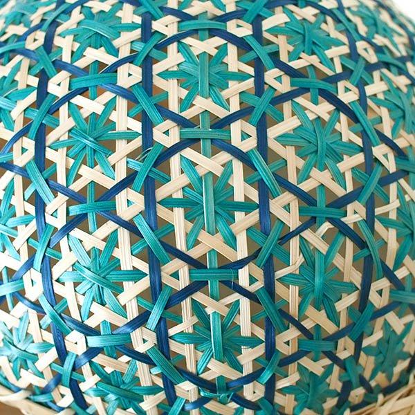 ベトナム 竹 フードカバー (花編み ブルー ざる付き 直径約29cm)【画像3】