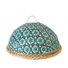 ベトナム 竹 フードカバー (花編み ブルー ざる付き 直径約29cm)