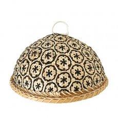 ベトナム 竹 フードカバー (花編み ブラック ざる付き 直径約29cm)