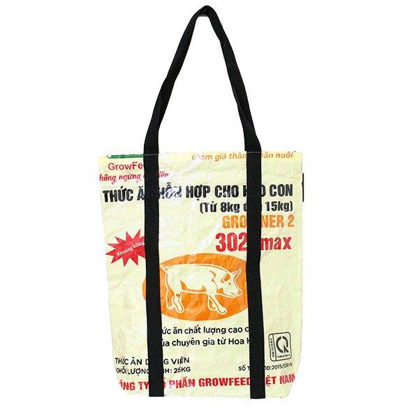 【NEW シリーズ】ベトナム 飼料袋 リメイク ショルダーバッグ(ビニールコーティング マチ付き ブタ クリーム)