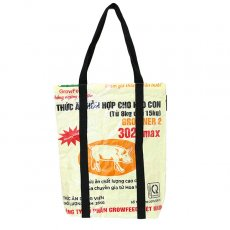 飼料袋リメイク 【NEW シリーズ】ベトナム 飼料袋 リメイク ショルダーバッグ(ビニールコーティング マチ付き ブタ クリーム)