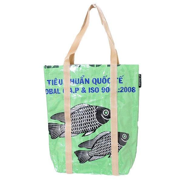 【NEW シリーズ】ベトナム 飼料袋 リメイク ショルダーバッグ(ビニールコーティング マチ付き 魚 グリーン)
