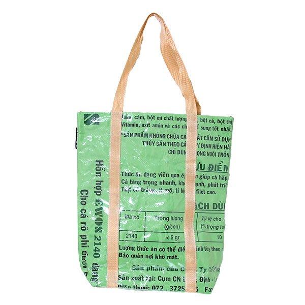 【NEW シリーズ】ベトナム 飼料袋 リメイク ショルダーバッグ(ビニールコーティング マチ付き 魚 グリーン)【画像2】