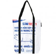 【NEW シリーズ】ベトナム 飼料袋 リメイク ショルダーバッグ(ビニールコーティング マチ付き ブタ ブルー A)