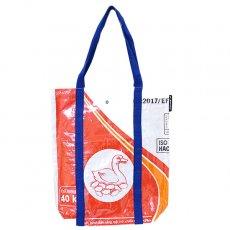 トリ (鳥) 雑貨 【NEW シリーズ】ベトナム 飼料袋 リメイク ショルダーバッグ(ビニールコーティング マチ付き アヒル レッド)