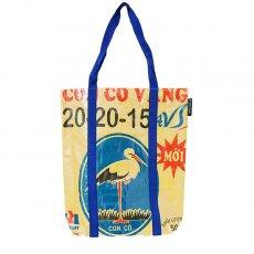 【NEW シリーズ】ベトナム 飼料袋 リメイク ショルダーバッグ(ビニールコーティング マチ付き コウノトリ イエロー)