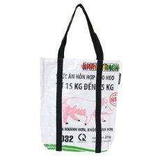 飼料袋リメイク 【NEW シリーズ】ベトナム 飼料袋 リメイク ショルダーバッグ(ビニールコーティング マチ付き ブタ ホワイト)