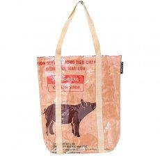 飼料袋リメイク 【NEW シリーズ】ベトナム 飼料袋 リメイク ショルダーバッグ(ビニールコーティング マチ付き ブタ ブラウン)