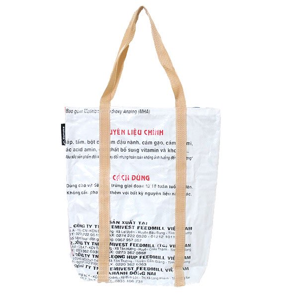 【NEW シリーズ】ベトナム 飼料袋 リメイク ショルダーバッグ(ビニールコーティング マチ付き アヒル ブルー)【画像2】