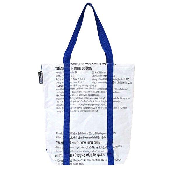 【NEW シリーズ】ベトナム 飼料袋 リメイク ショルダーバッグ(ビニールコーティング マチ付き ブタ ブルー B)【画像2】