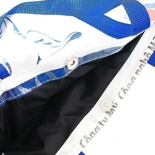 【NEW シリーズ】ベトナム 飼料袋 リメイク ショルダーバッグ(ビニールコーティング マチ付き ブタ ブルー B)【画像4】